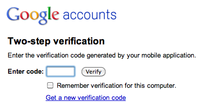 Google two-step verification