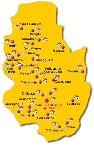Mapa del Departamento de Morazán