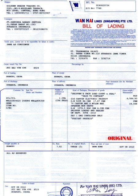 Contoh dokumen Bill Of Loading yang kami tangani