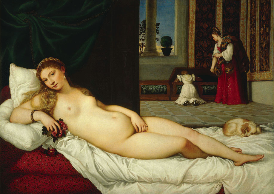 titian venus urbino painting nude woman over glacier purple sky (72k image