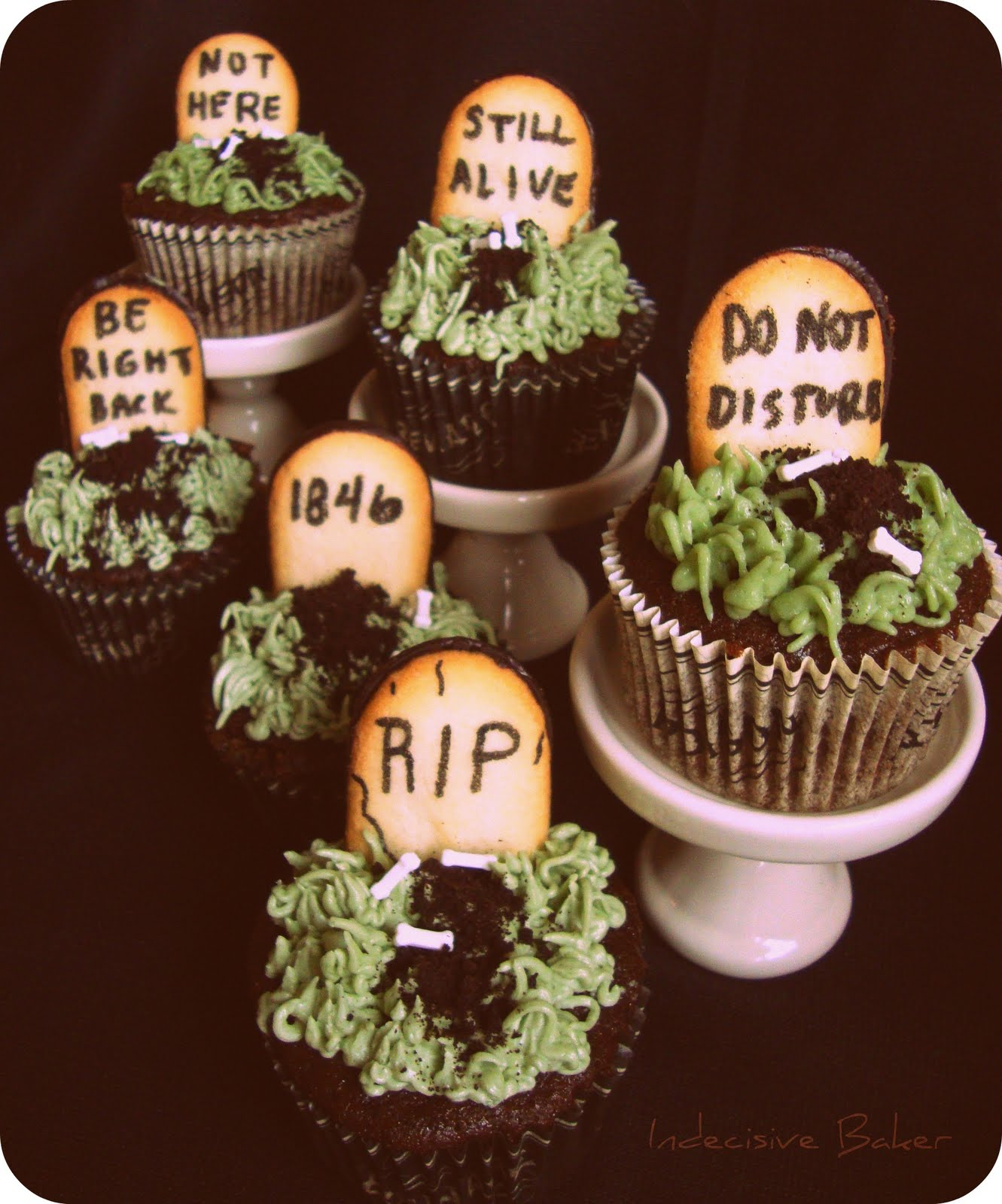 Graveyard Cupcakes (Devils Food with Flour Frosting)