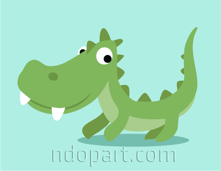 Download Cartoon Vector: Green Crocodile