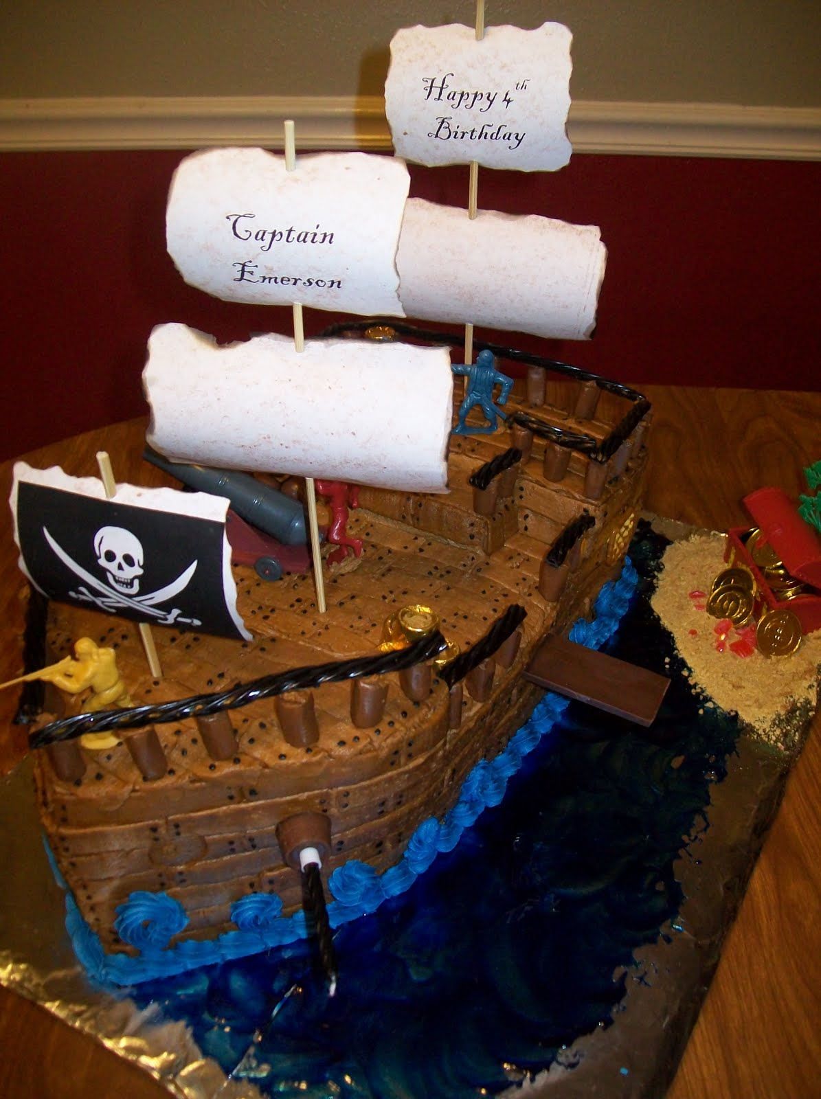 Grateful For The Ride Pirate Ship Cake