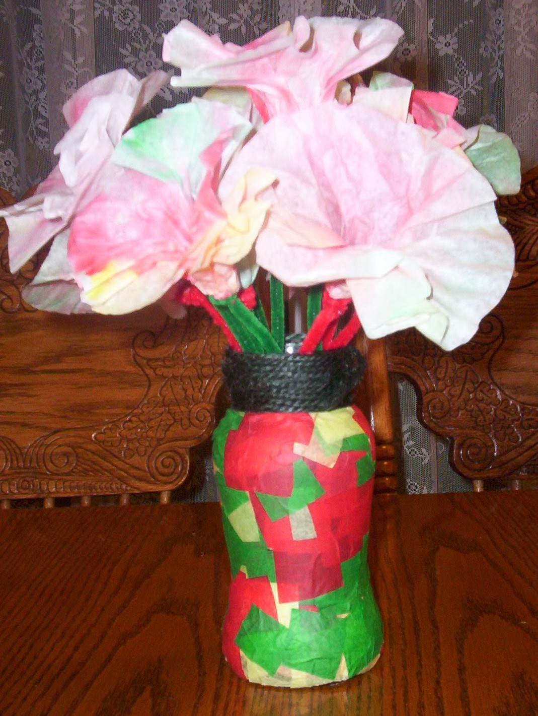 Almost Unschoolers Coffee Filter Christmas Flowers And A Tissue