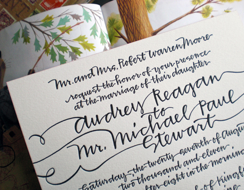Use calligraphy as the sole design element for your wedding invitations