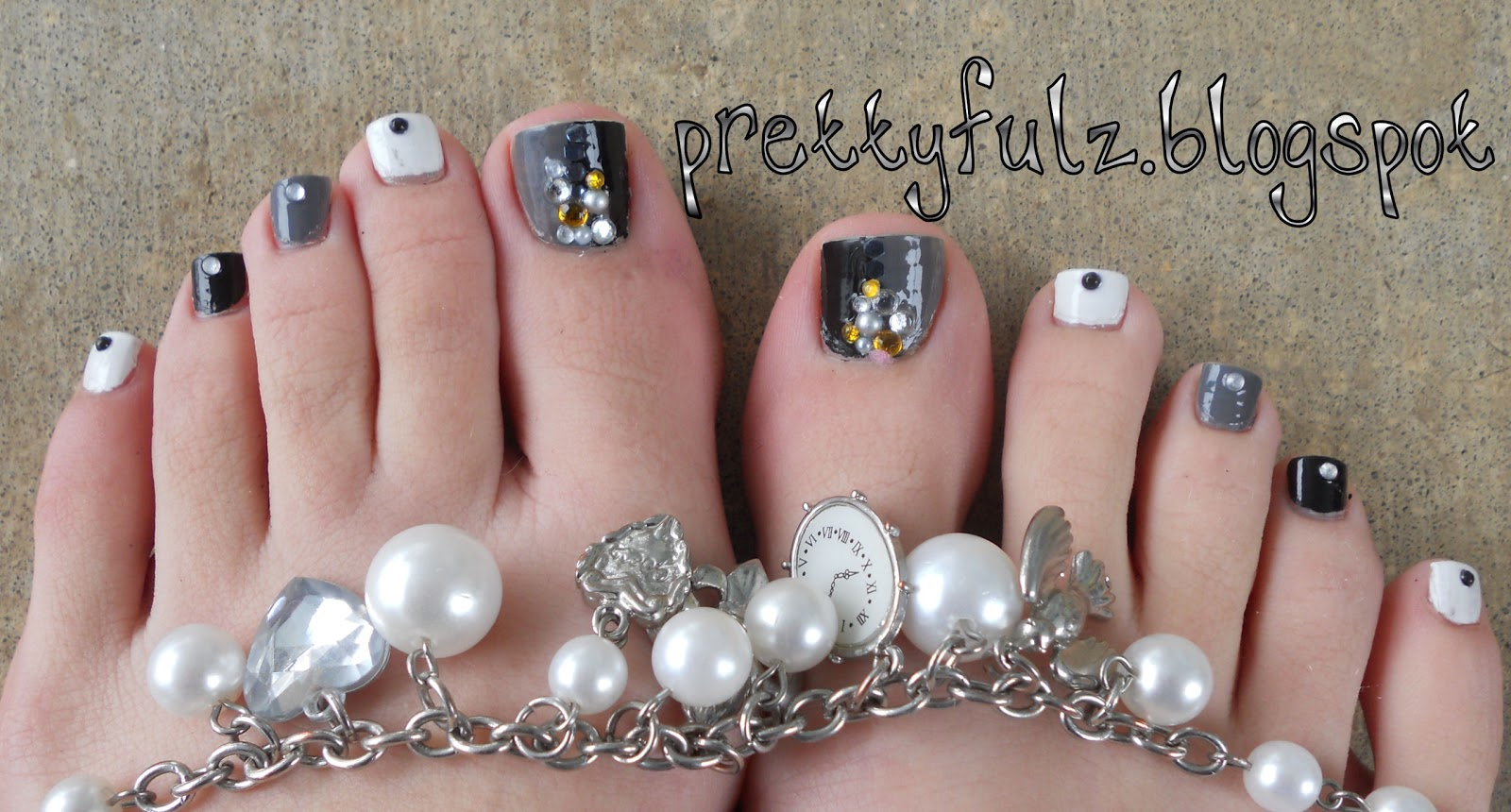 Prettyfulz Pedicure Nail Art Designs Black White Pedicure