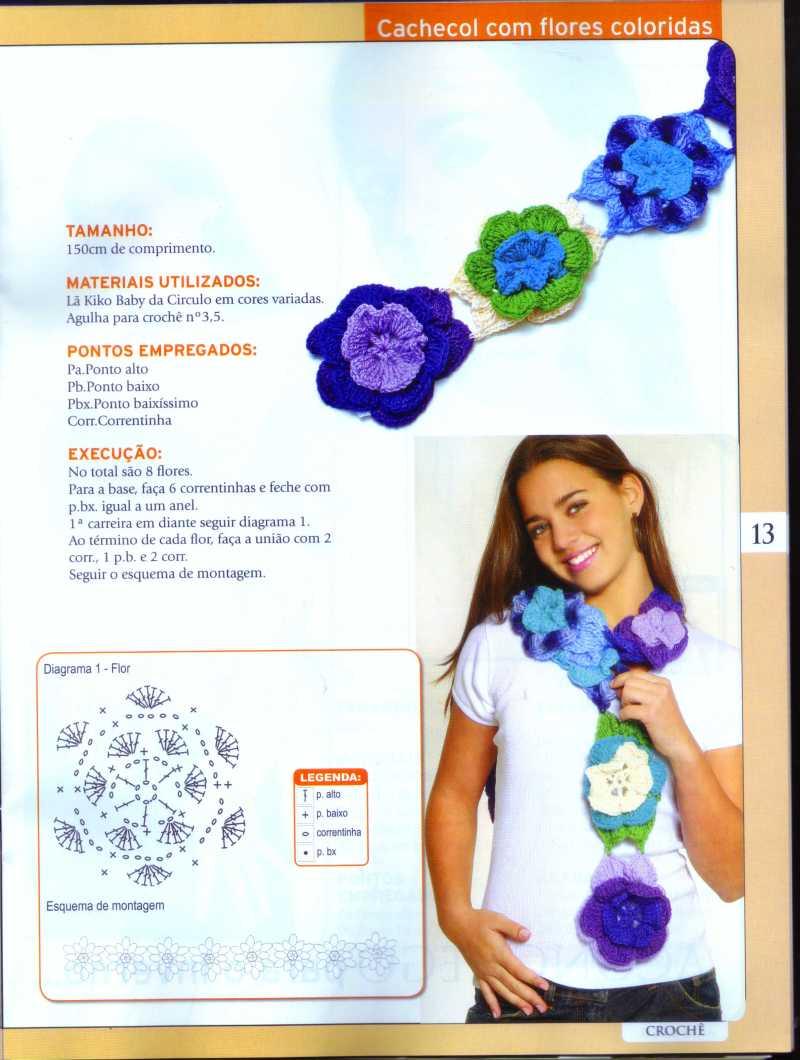 Chalina de flores y chal triangular