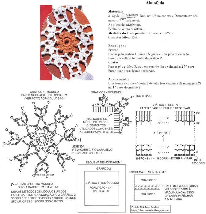 Patrones a crochet para fundas de almohadas ~ Solountip.com