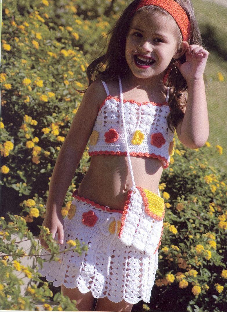 Conjunto bonito para niñas a crochet
