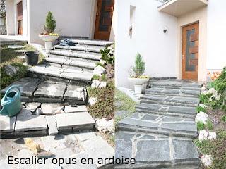 Escalier opus en ardoise.