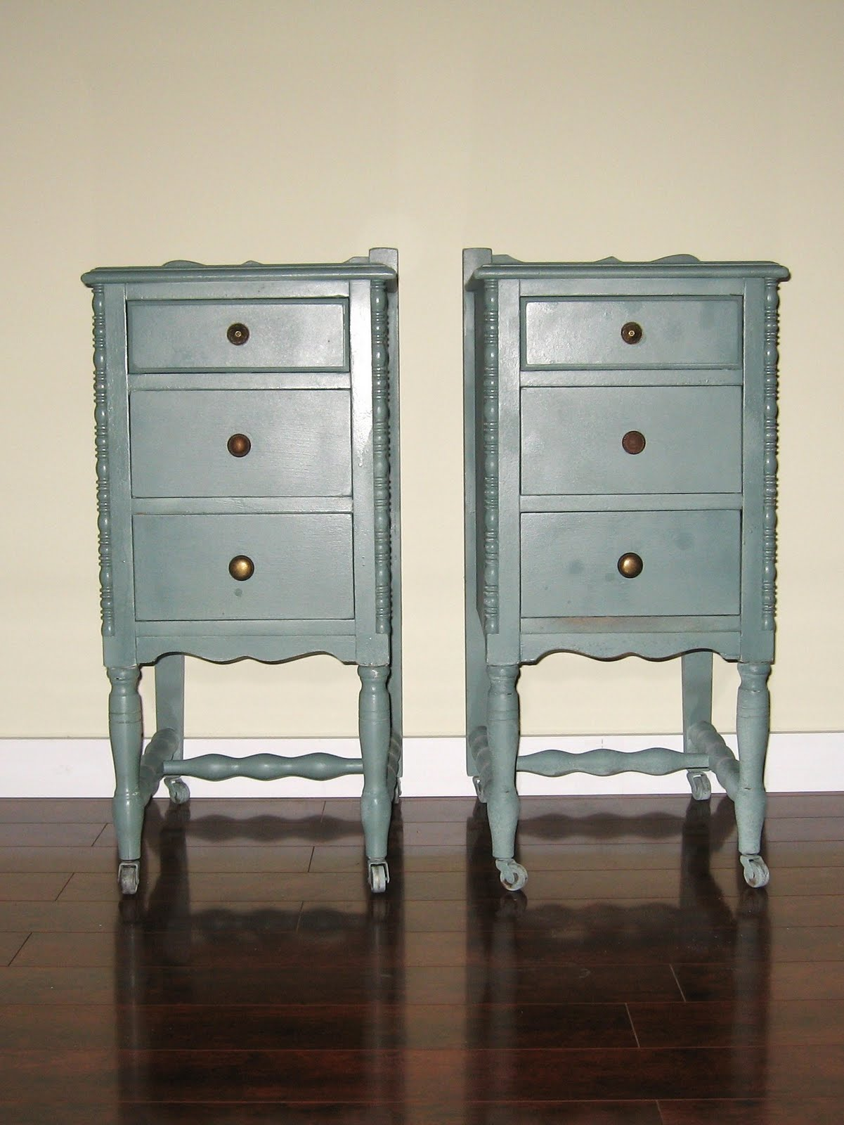 little green brush two skinny nightstands