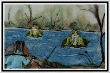 Mr. Goat and the Tree Frogs ~ Illustration in wool