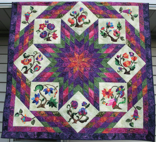 Dee s Quilted Moose: Jacobean Floral meets Lone Star and Beyond