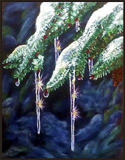 branches of a spruce tree with snow and sparkling icicles on them