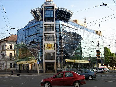 Transylvania Bank building-glass-fronted