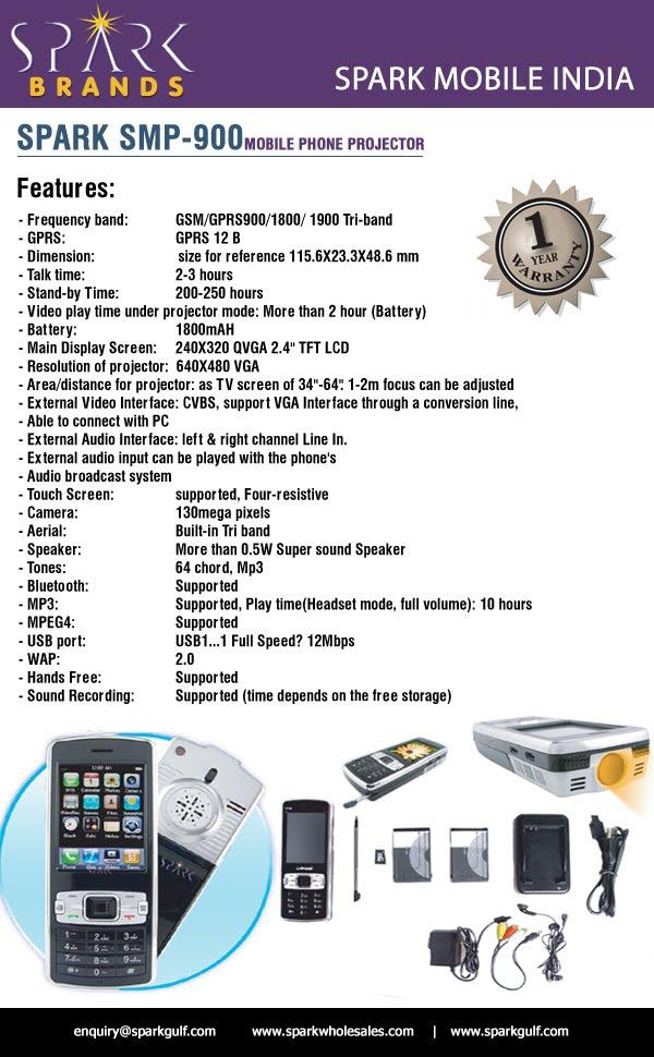 Spark brand of technologies pocket size projector in mobile for Best pocket size projector