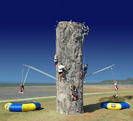 Rock wall and bungy trampoline