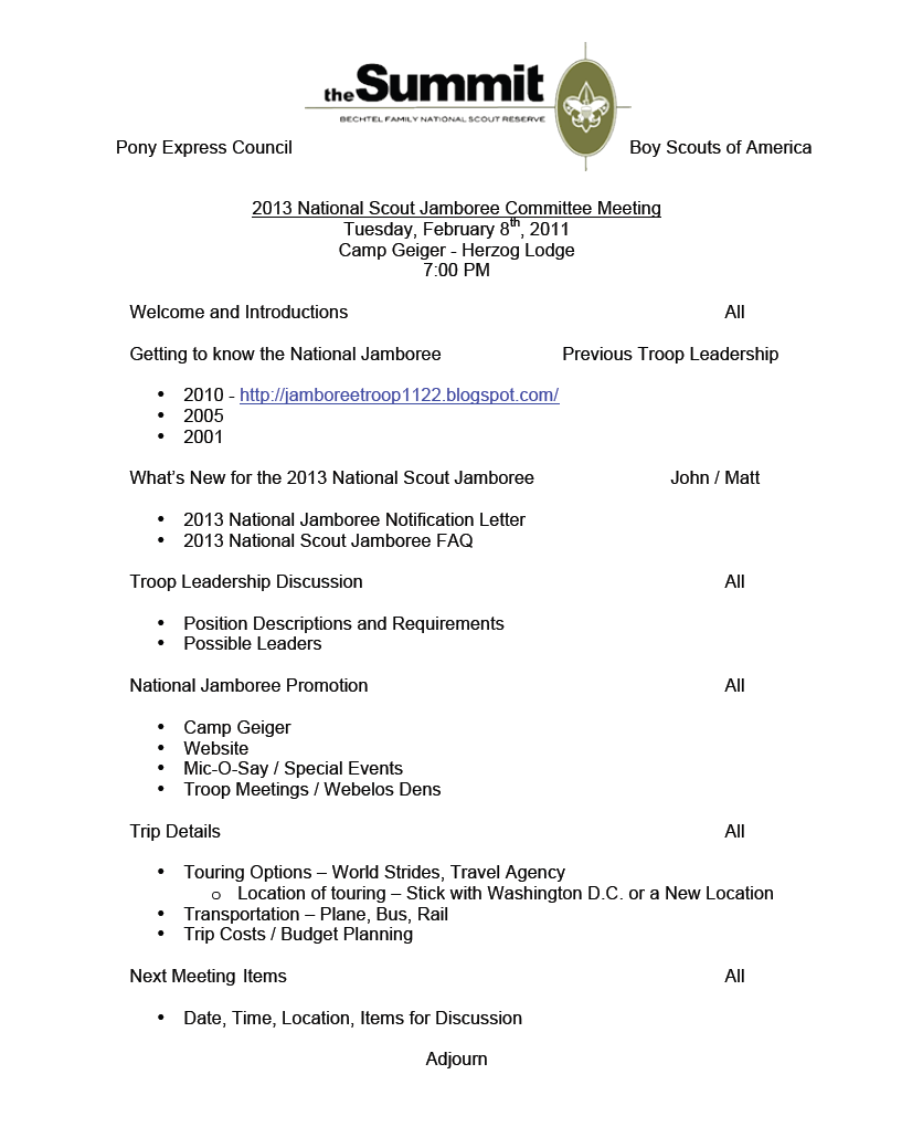 Pony express council 39 s national jamboree blog jamboree for First board meeting agenda template