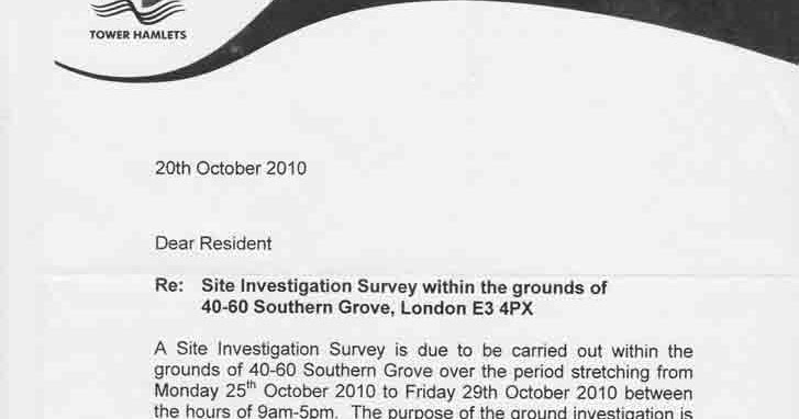 MILE END RESIDENTS NEWS Site Investigation Survey In