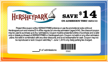 Hershey Park offers several Hershey coupons in conjunction with its coupon partner locations. As a shopper, you can stop at any of Hershey Park's coupon locations and grab yourself hershey park best coupons. hershey park best coupons and a Hershey promo code offer many packages so that you can save money along the way as you enjoy the products from Hershey Park.