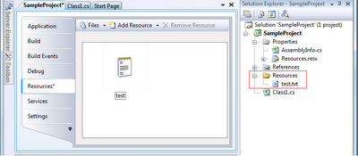 Visual Studio: File declared as resource