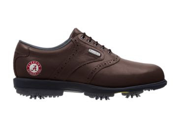 Crimson Tide golf shoe that is completely brown except for the U of A logo that is red and white on the back portion of the piece of footwear.