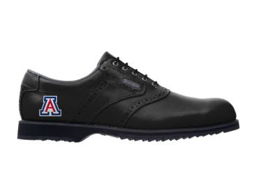 Black Zona Wildcats right golf shoe with black laces and a black sole and a red, white, and blue University of Arizona logo.
