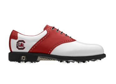 South Carolina Gamecocks golf shoe that is a classic design with black cleats in men's size 10.