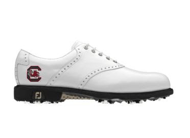 White South Carolina University golf shoe in ladies size 9 with college logo on the side above the FJ logo.