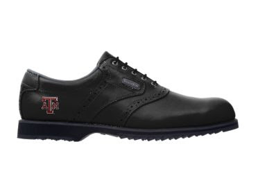 Black Aggies golf shoe with A&M logo on the back part of this athletic design.