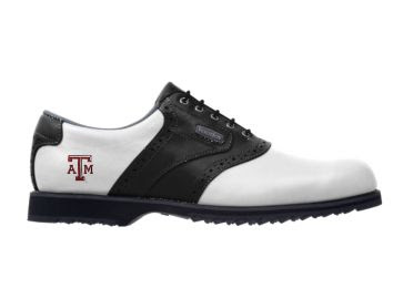 Texas Aggies golf shoe that is white and black with a small college logo near the heel that is below the padded ankle area and next to the arch support area.