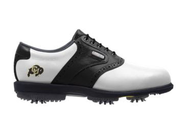 University of CO golf shoes that are black and white with a small school logo on this Footjoy male shoe size 10.