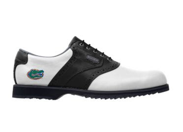 Florida Gators golf shoe that is a classic white and black design with an alligator logo above the black sole.