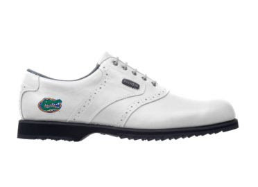 White U of Florida golf shoe that is a pretty ladies classic style with a gator logo on the heel.