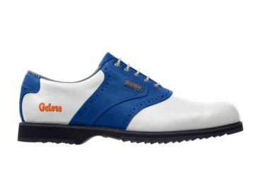 Gators golf shoe for men that is white with blue stripe and blue trim and an orange Gators logo on the heel.