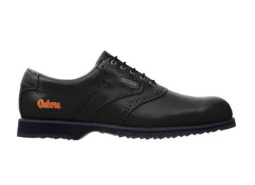Black University of Florida golf shoe with orange Gators logo on this men's Footjoy UF piece of golf equipment.