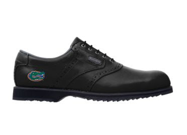 Black UF Gators golf shoe with angry Albert logo on the heel of this ladies shoes size 8 with black plastic spikes.