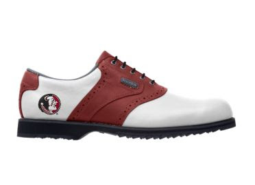 Red FSU golf shoe that has Chief Osceola logo on the heel of this Noles lady's shoe with Footjoy logo and black shoelaces.