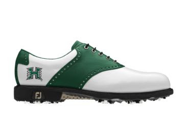 Hawaii Warriors golf shoe with black laces and Warriors logo on the heel next to the arch of this lady's size 7 shoe made by Footjoy.