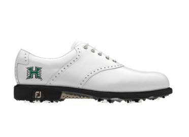 White University of Hawaii golf shoe for men with green logo on classic design on size 10 shoe made by Footjoy with FJ logo on black heel next to soft plastic spikes.