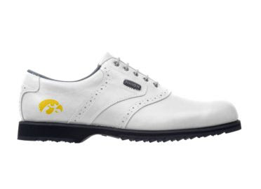 Yellow and white Iowa Hawkeyes golf shoe for women size 9 with black rubber sole and soft spikes on this Footjoy product.