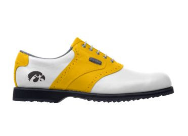 Gold and white Hawkeyes golf shoe with a black logo for men size 11 with a rubber sole and arch support.