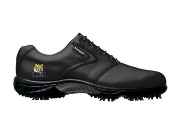 Black LSU Tigers golf shoe with logo on the side of men's size 10 dark Footjoy shoe with traditional classic design.