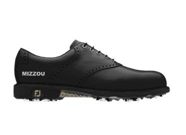 Mizzou golf shoe  that is black in Men's size 11 with the word MIZZOU written in white on the back above the FJ logo.