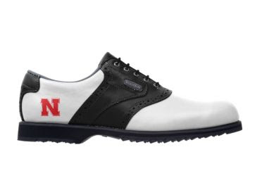 UN Cornhuskers golf shoe that is traditional design with white exterior and black trim with red school logo on the side above plastic cleats on men's size 9.