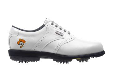 White Oklahoma State Cowboys golf shoe with black golf spikes and a classic style design that is a white Footjoy product.