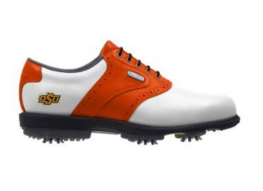 Orange OK State Cowboys golf shoes with soft spikes and white toe area and orange heel area.