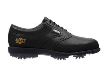 Black OSU Cowboys golf shoe with plastic spikes in a men's size 11 with a Footjoy logo, black tongue, and black shoelaces.