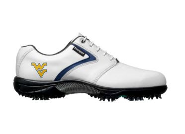 Mountaineers golf shoe that is white with blue trim and a gold WVU logo on the back near the heel of this athletic looking piece of golf footwear.
