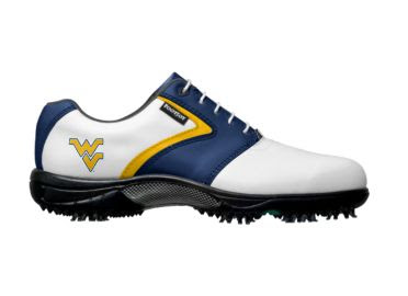 WVU Mountaineers golf shoe that is white with blue and gold trim above a sporty Nike design on this Footjoy product with school colors.